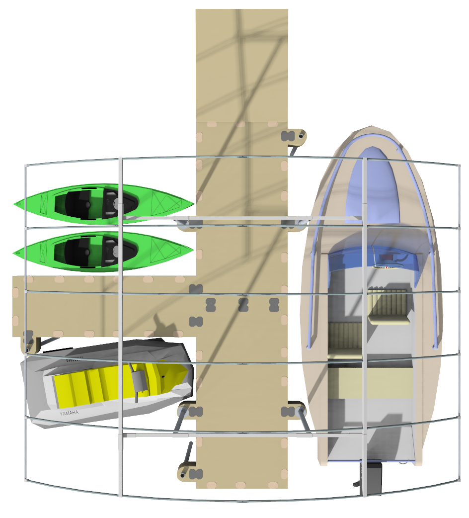 Pier-Port 416 boat scheme Top View 3D